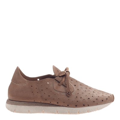 Lunar women's sneaker in Mid Taupe side view