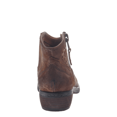Women's western ankle bootie the Trek in Tobacco back view