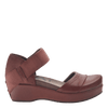 Womens closed toe wedges wander out in Sangria side view