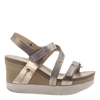 Womens wedge sandals wavey in gold side view