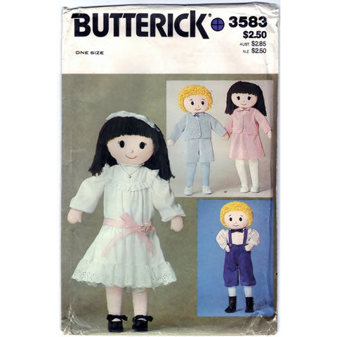 Butterick 3583 Pattern Vintage Dolls 32 In Boy and Girl Craft Tool