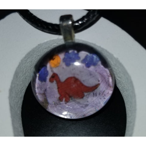 Dinosaur Hugz Handmade Good Flat Back Glass Marble Necklace 💋