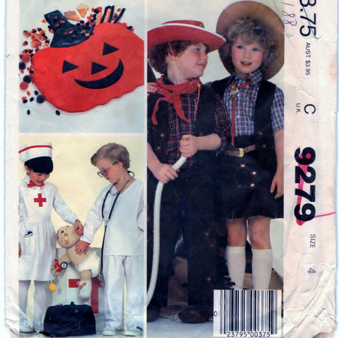 McCalls 9279 Pattern Vintage Children Boys And Girls Costumes And Bag