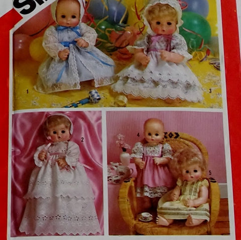 Simplicity 6055 Pattern Vintage Dolls Set Of Party Dresses Med