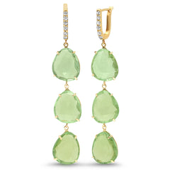 14K 3 Jelly Bean Diamond Earrings