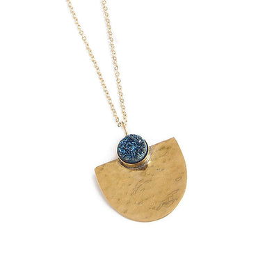 Aquila Necklace, Brass and Druzy, Navy