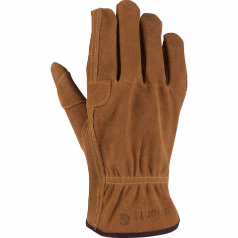 Carhartt Gloves: Men's Leather Fencer Suede Cowhide Brown