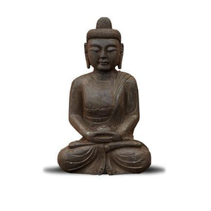 "18"" Black Stone Sitting Meditation Buddha"