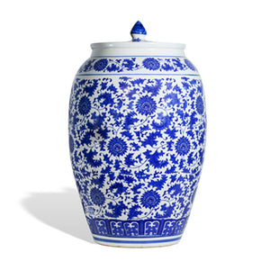 Blue and White Flower Ginger Jar