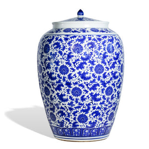Large Blue and White Flower Ginger Jar