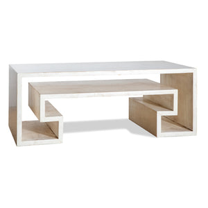 White Sponge Finish Key Coffee Table