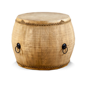 Leather Top Wooden Drum Table Natural