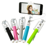 Fashion Extendable Wired Remote Shutter Selfie Stick Monopod For iPhone Smartphone - Pink - Tripods & Monopods - Althemax - 2