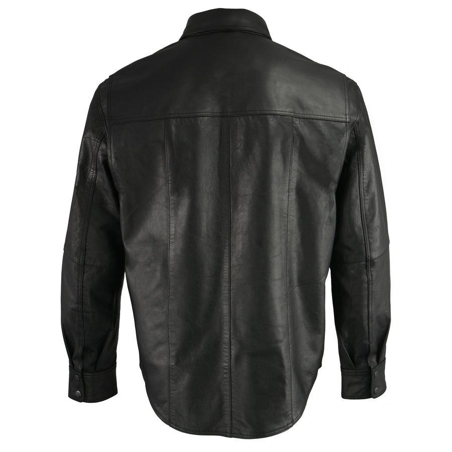 Milwaukee Leather LKM1601 Men's Black Lightweight Leather Snap Front Shirt - Black