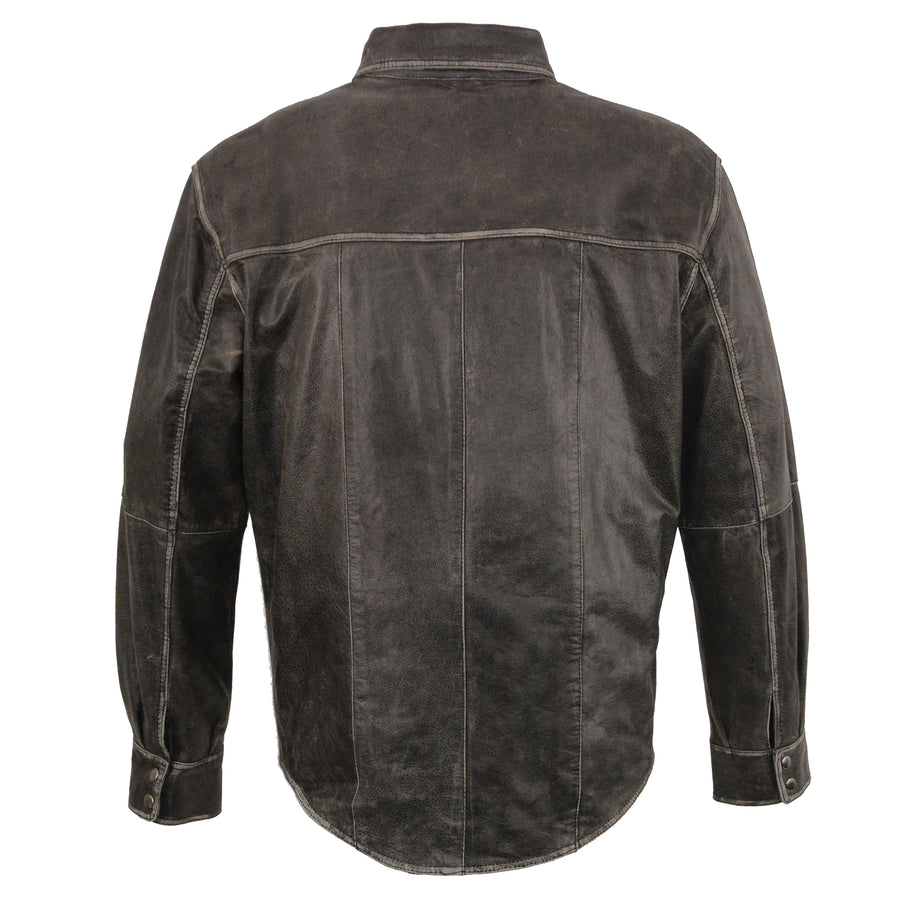 Milwaukee Leather-MLM1605-Men's Distressed Grey Lightweight Leather Snap Front Shirt