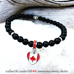 Black Tourmaline Canadian Flag Bracelet