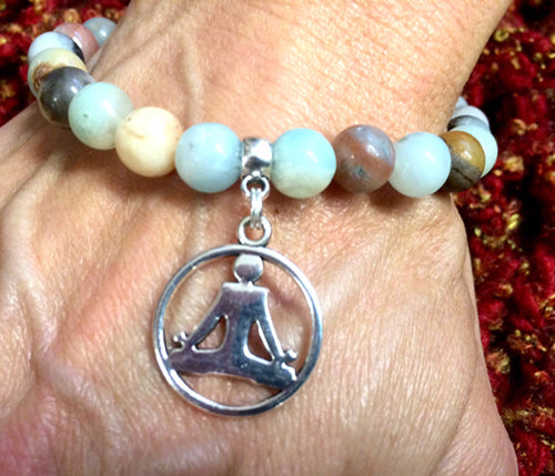 Amazonite Silver Sitting Lotus Bracelet