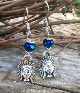 Indian Motorcycle Earrings with Blue Swarovski Crystal