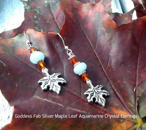 Aquamarine Silver Maple Leaf Earrings