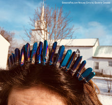 Blue Aura Quartz Crystal Crown