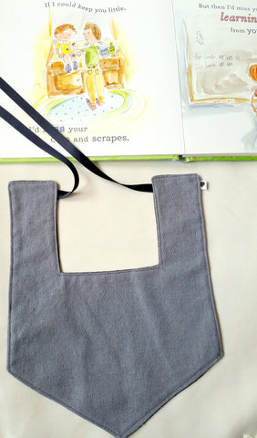 Black/ Grey Linen Reversible Luxe Bib
