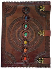 Chakra Stones Leather Embossed Journal Large