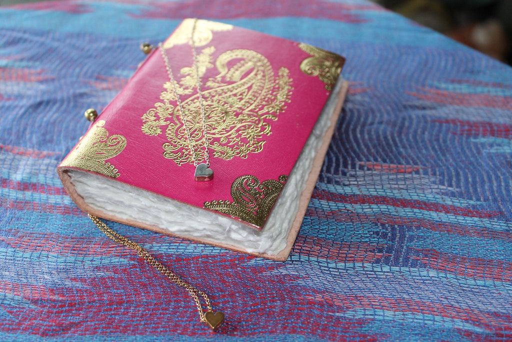 Small Gold Embossed Leather Journal