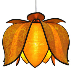Hanging Blooming Lotus Lamp, Gold / Hardwire Kit
