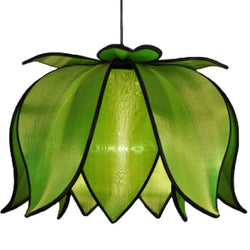 Hanging Blooming Lotus Lamp, Green / Hardwire Kit