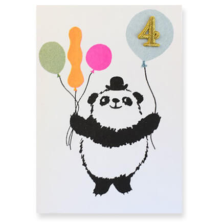 Panda Embroidered Age Card by Petra Boase - Age 4 - Junior Edition