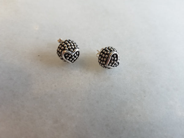 Sterling Silver Oxidized Ball Studs with Hearts