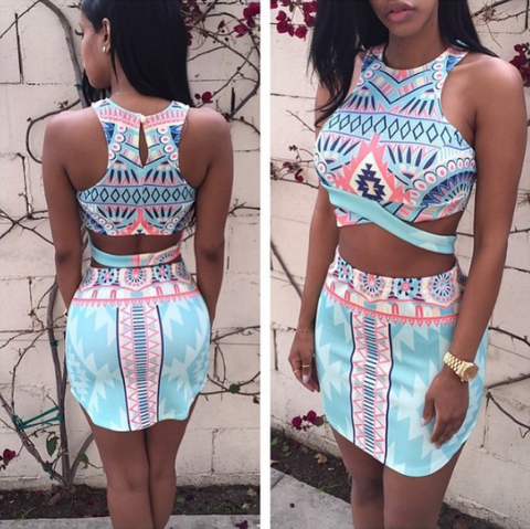 Sexy printed sleeveless two-piece dress