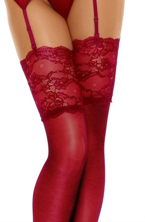 Beauty Night Collection Romance Stockings - Cherry