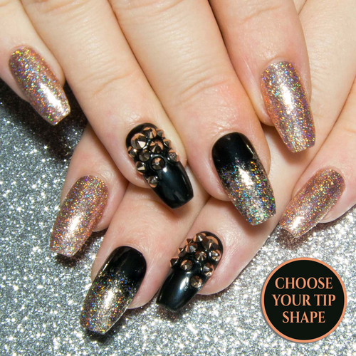 """Glitz & Glamour"" - Black & Rose Gold Nails with Swarovski Crystals"