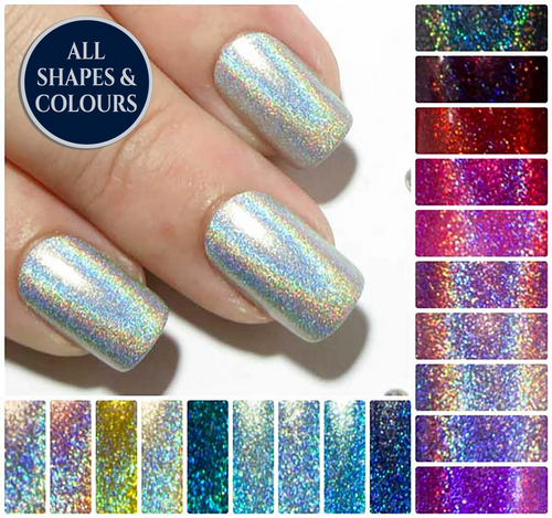"""The Holographics"" - Short Holo Fake Nails"