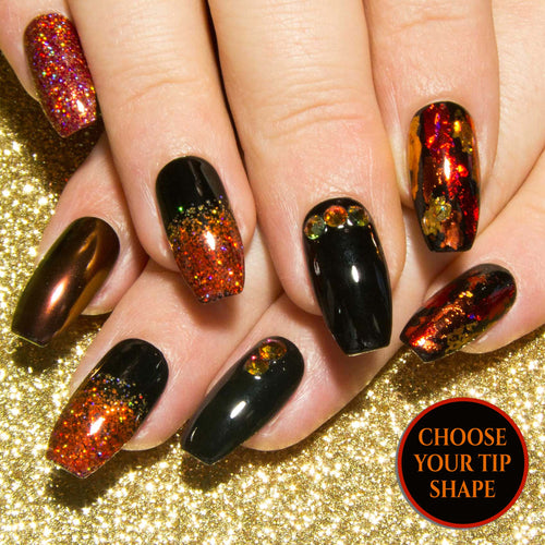 """Molten"" - Black, Red & Orange False Nails with Volcano Swarovski Crystals"