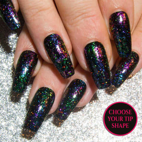 """The Holographics"" - Coloured Holographic False Nails"