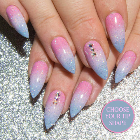 """Cotton Candy"" - Pink Blue & Purple Holographic Ombre Fake Nails"