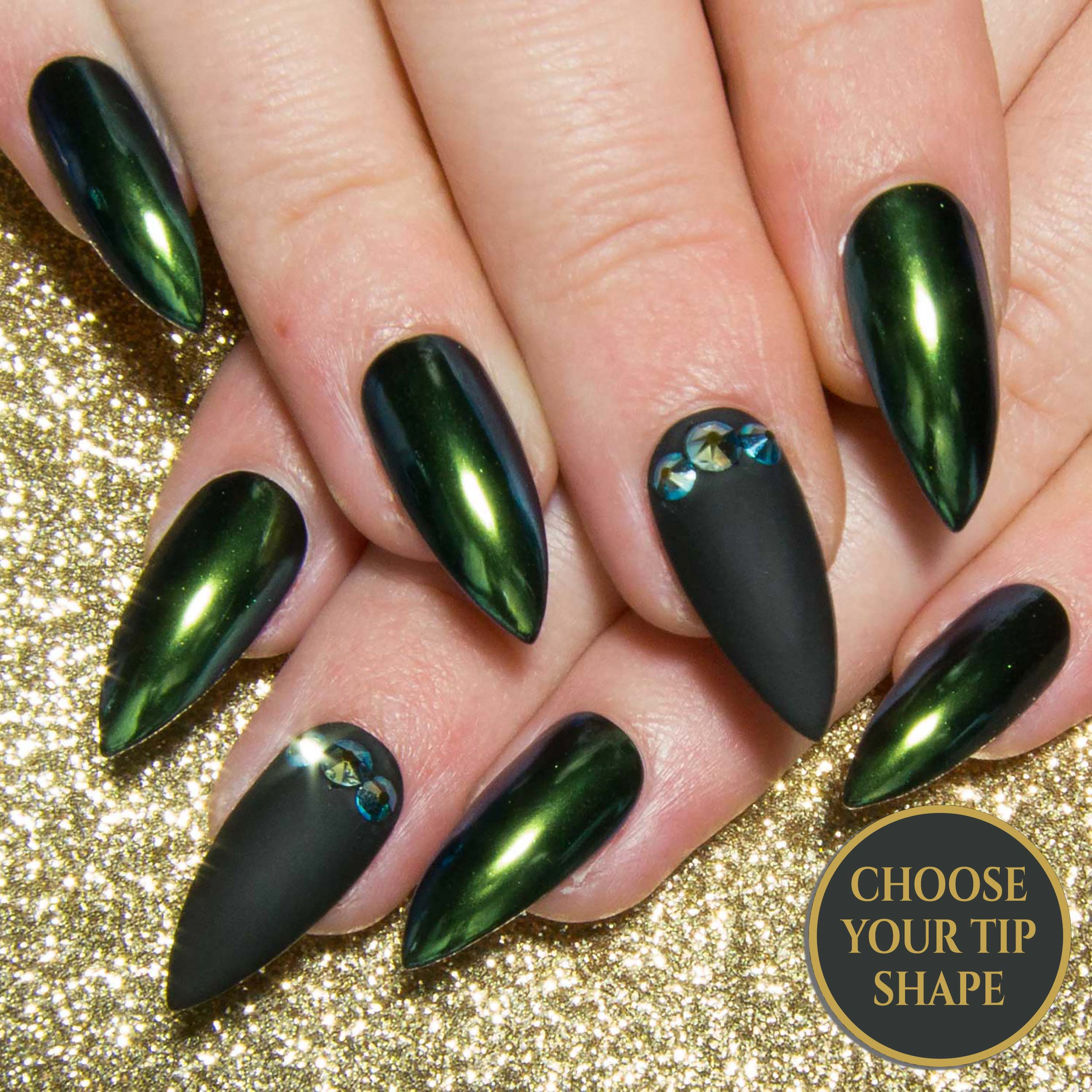 """Dragona Dragona"" - Green Chameleon Chrome & Black False Nails"