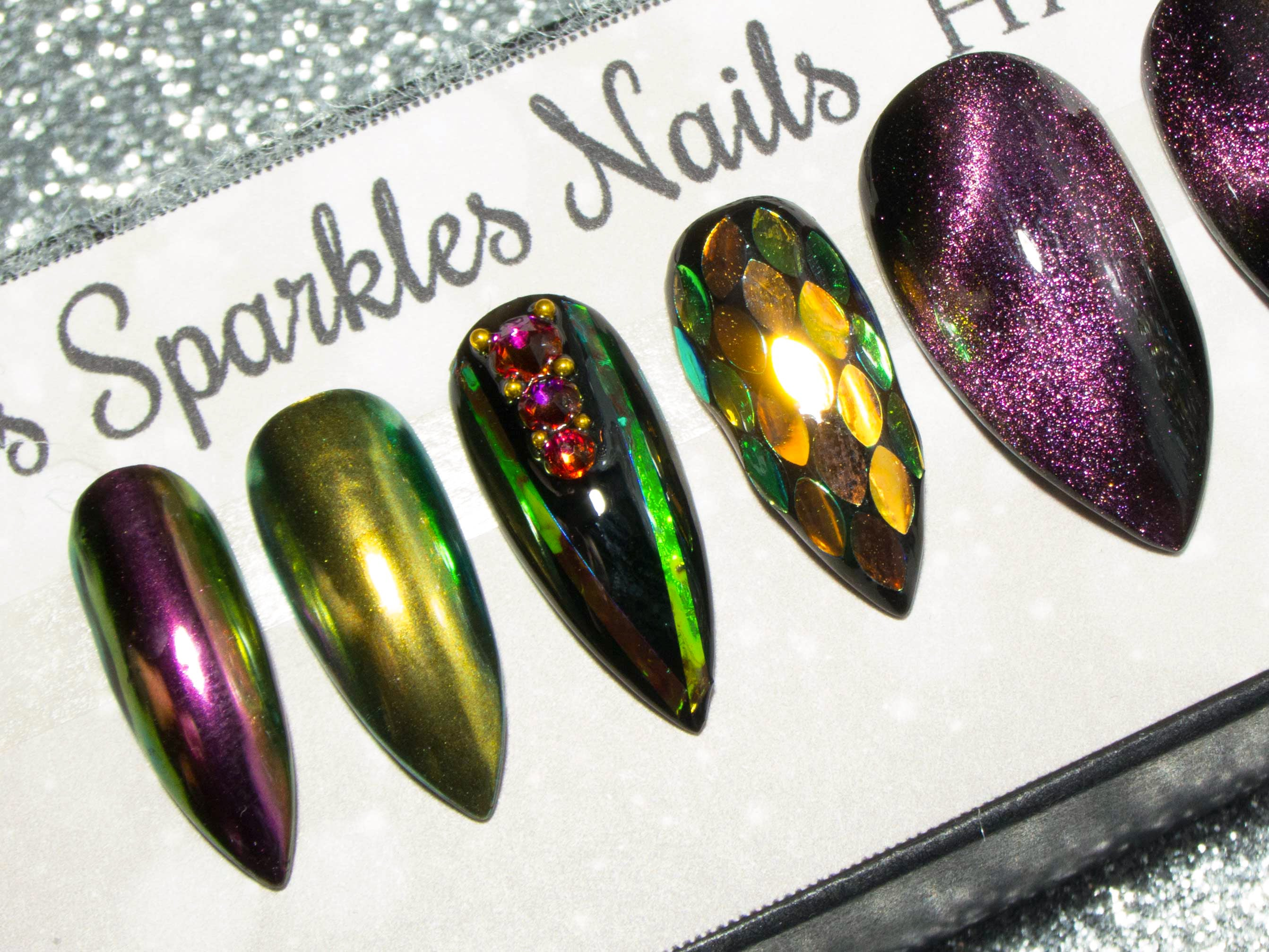 """Dragon Scales"" Iridescent, 3D, Colour-Shifting Magic Press On Nails"