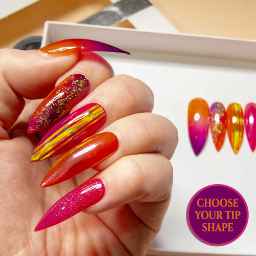 """Tropicana"" Glass, Glitter & Chrome False Nails"