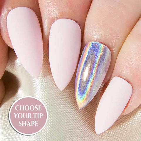 """Blue Unicorn Chrome"" Iridescent Pastel Rainbow Chrome Nails"