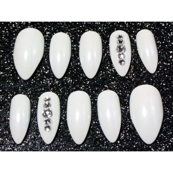 White Pearl Chrome & Crystals - Any Shape False Nails