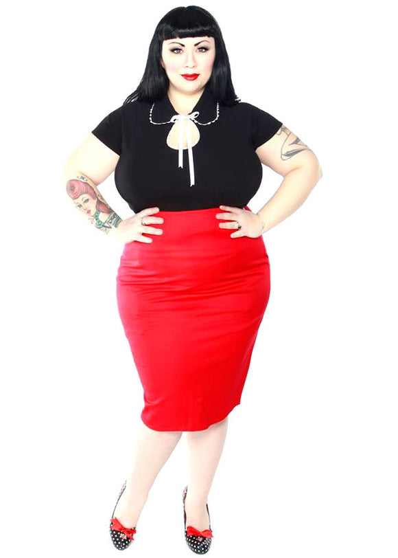 mode merr red perfect skirt plus size
