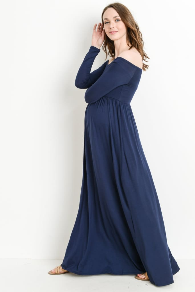 Saylor Off Shoulder Maternity Gown | Navy - DRESSES - Affordable Boutique Fashion