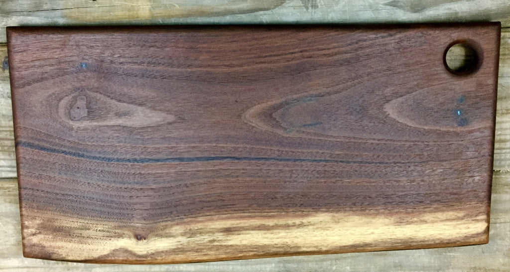 213. Walnut Cutting/Serving Board with Turquoise Inlay