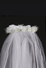 Floral Organza Girls Communion Crown Veil w. Rhinestones & Pearls T24