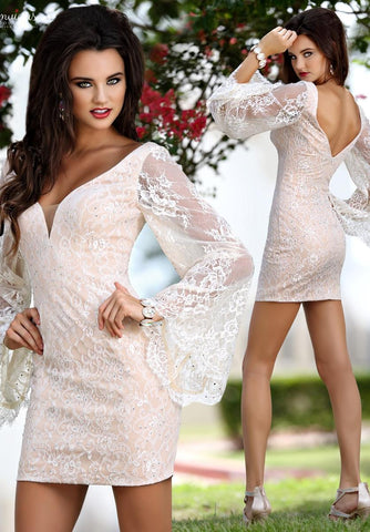 Envious Couture 18095 short beaded lace prom dress with bell sleeves Ivory Sizes 00, 10 and 16