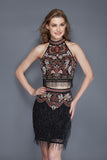 Primavera Couture 3106 two piece beaded fringe homecoming dress