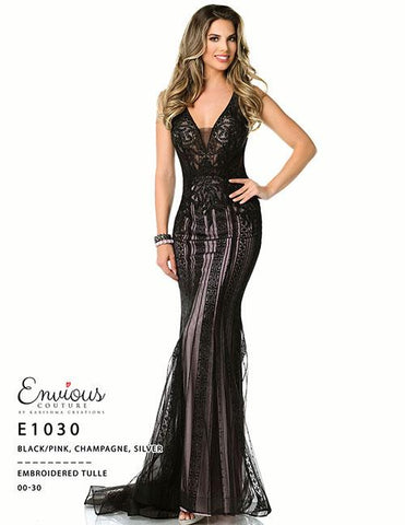 Envious Couture E 1030 Black/Pink Size 16 Prom Dress Pageant Gown